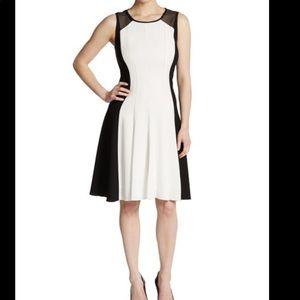 Elie Tahari Black/White Patti Fit Flare Dress 12